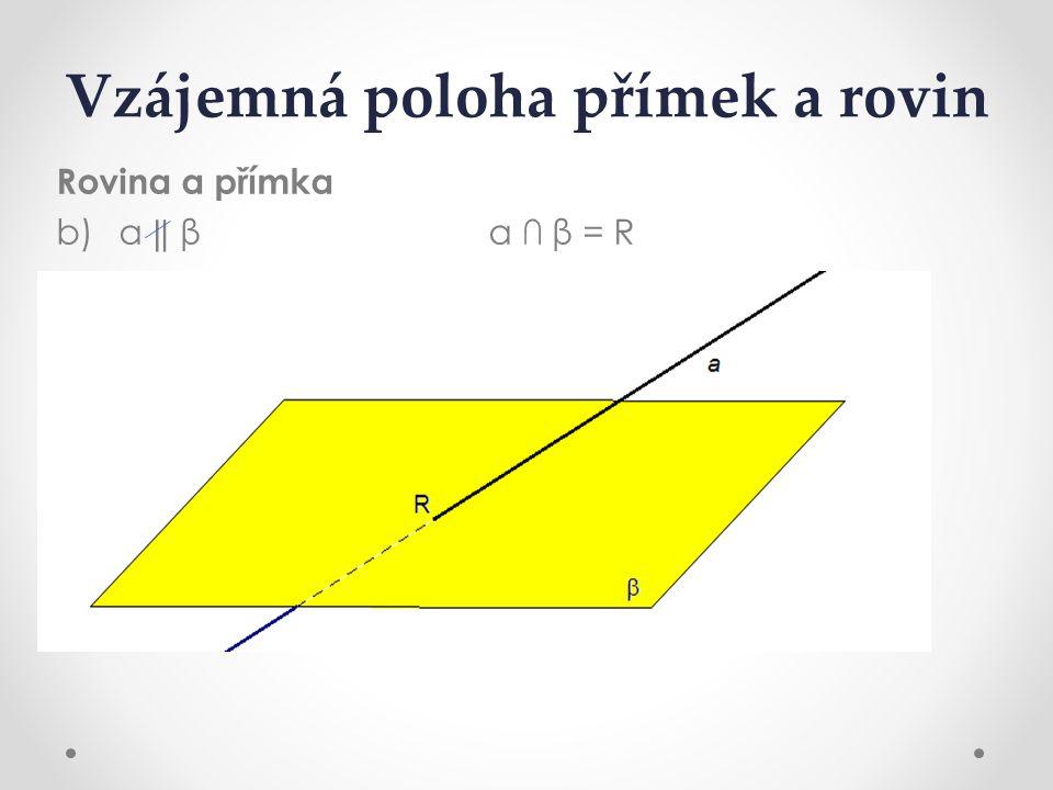 Vzájemná poloha přímek a rovin Rovina a přímka b) a ‖ β a ∩ β= R
