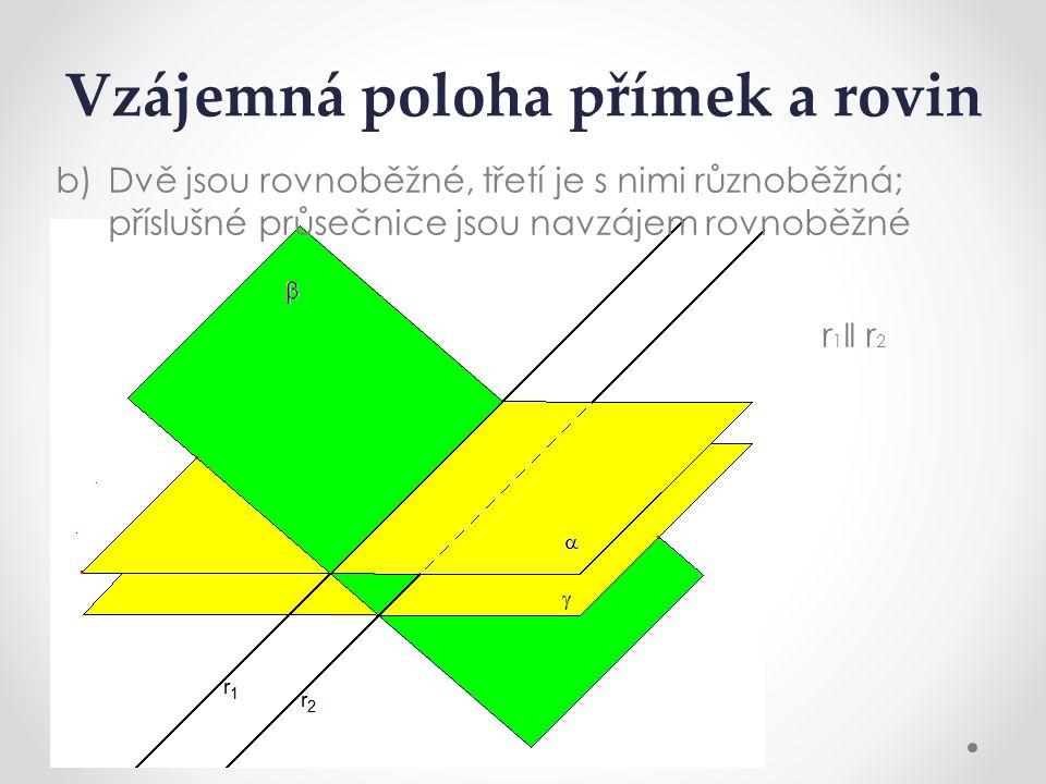 Vzájemná poloha přímek a rovin b)Dvě jsou rovnoběžné, třetí je s nimi různoběžná; příslušné průsečnice jsou navzájem rovnoběžné r 1 ǁ r 2