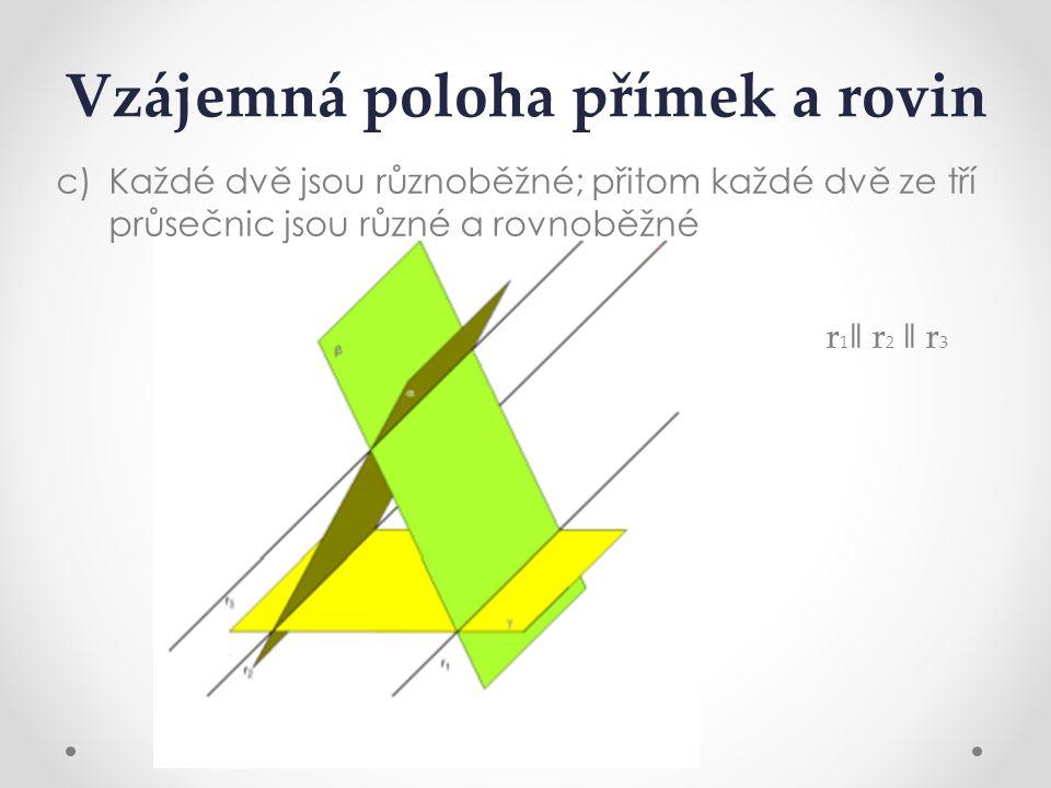 Vzájemná poloha přímek a rovin c)Každé dvě jsou různoběžné; přitom každé dvě ze tří průsečnic jsou různé a rovnoběžné r 1 ǁ r 2 ǁ r 3