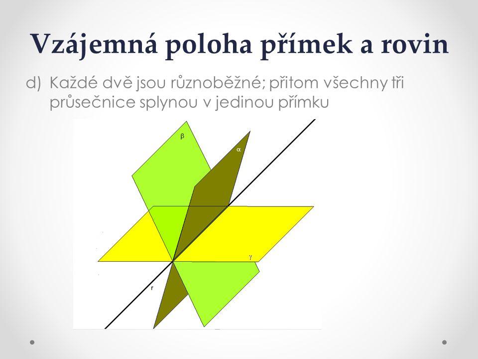 Vzájemná poloha přímek a rovin d)Každé dvě jsou různoběžné; přitom všechny tři průsečnice splynou v jedinou přímku