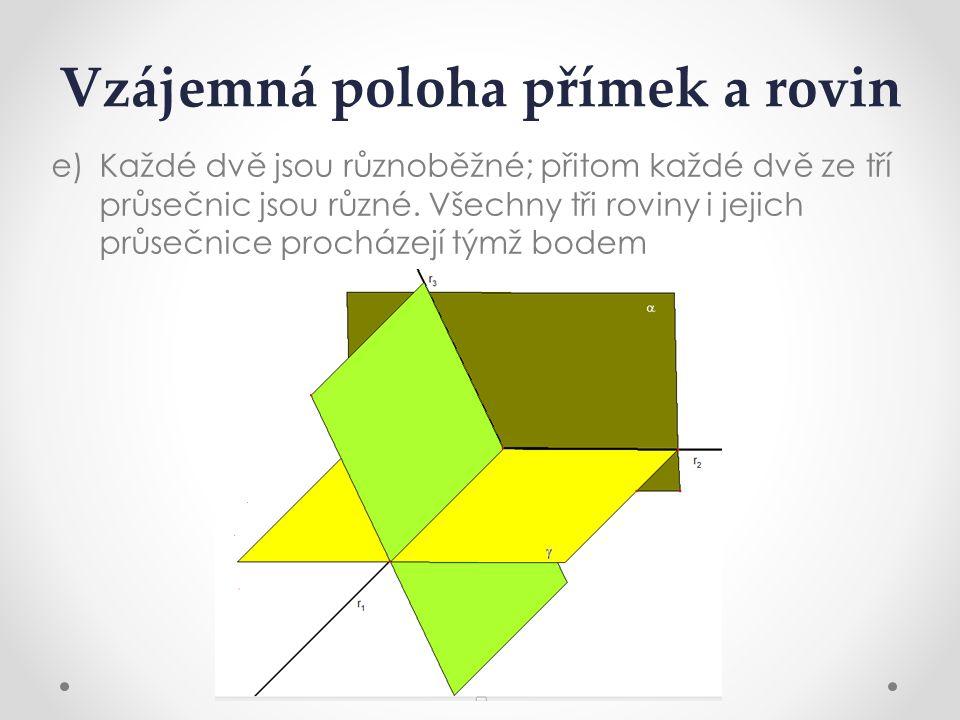 Vzájemná poloha přímek a rovin e)Každé dvě jsou různoběžné; přitom každé dvě ze tří průsečnic jsou různé.