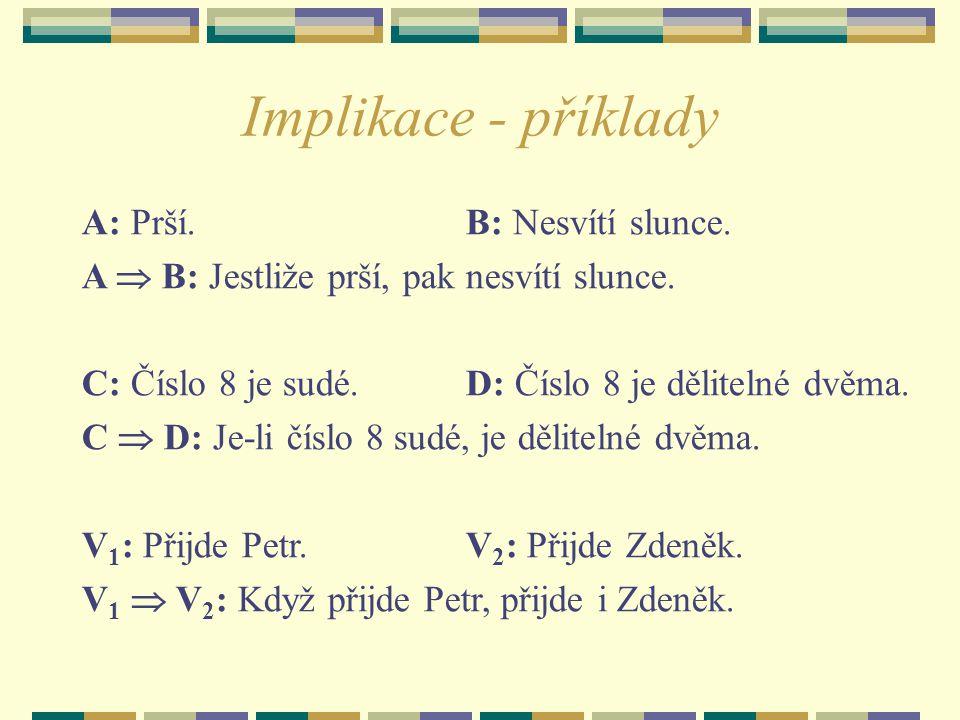 Implikace - příklady A: Prší.B: Nesvítí slunce. A  B: Jestliže prší, pak nesvítí slunce. C: Číslo 8 je sudé. D: Číslo 8 je dělitelné dvěma. C  D: Je