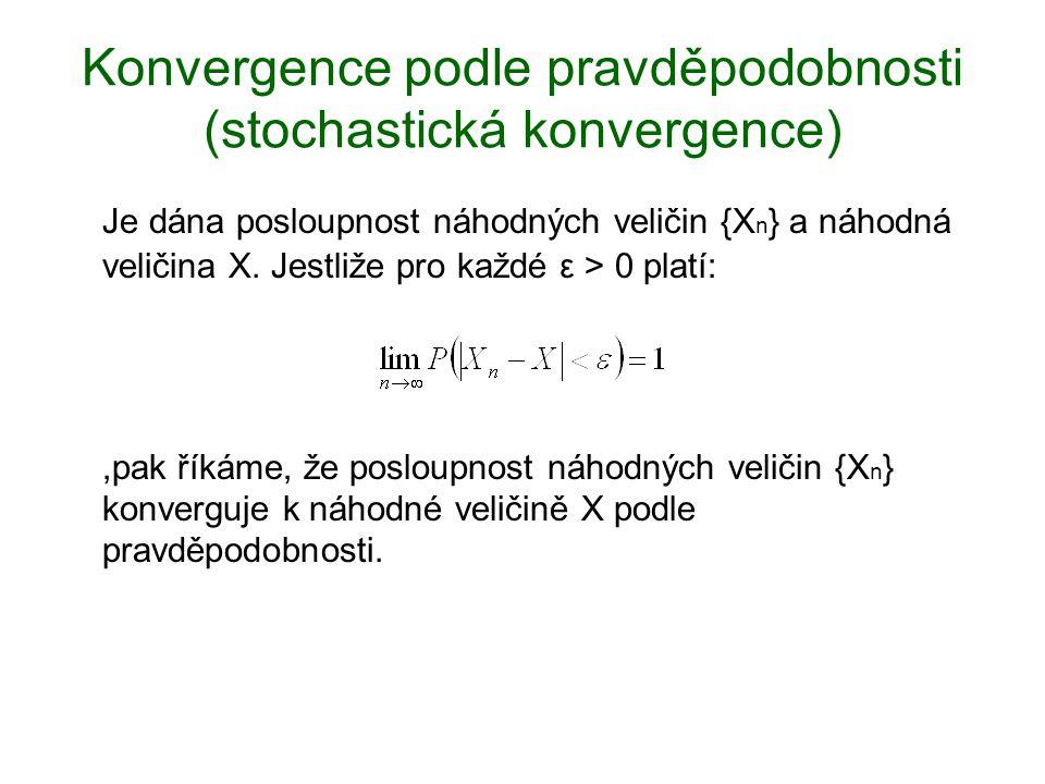 Konvergence podle pravděpodobnosti (stochastická konvergence) Je dána posloupnost náhodných veličin {X n } a náhodná veličina X. Jestliže pro každé ε