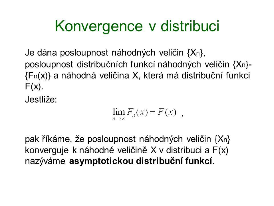Konvergence v distribuci Je dána posloupnost náhodných veličin {X n }, posloupnost distribučních funkcí náhodných veličin {X n }- {F n (x)} a náhodná