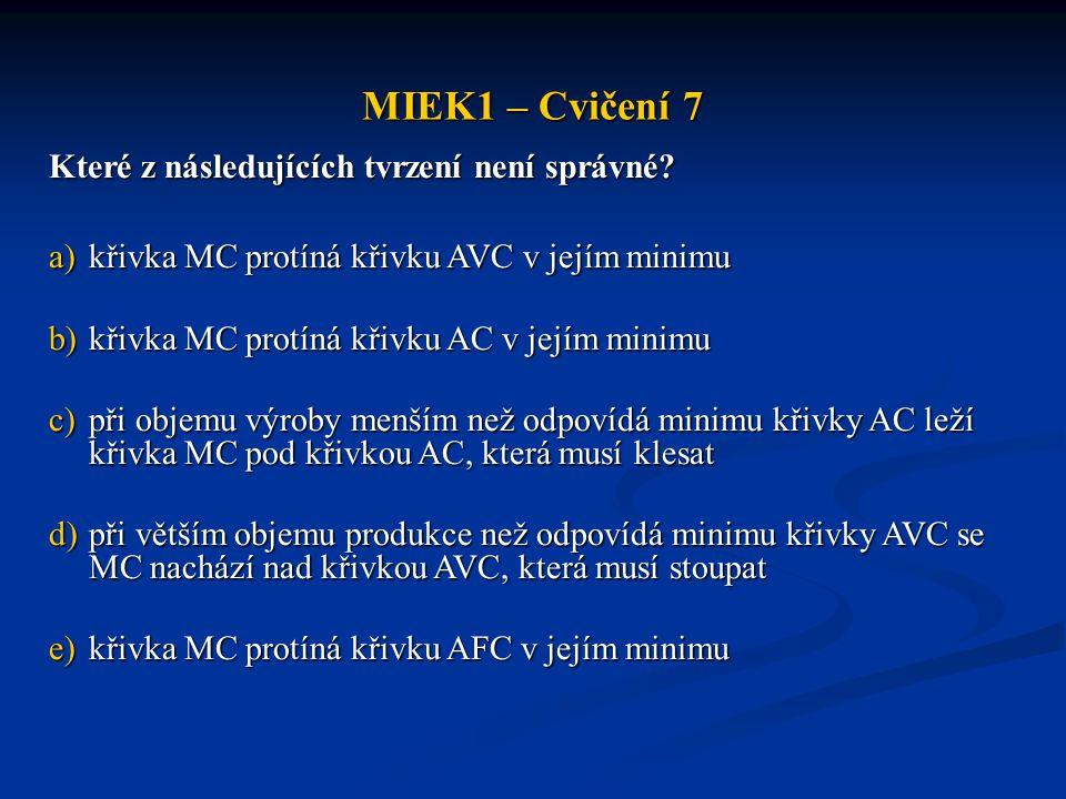 MIEK1 – Cvičení 7 Které z následujících tvrzení není správné? a)křivka MC protíná křivku AVC v jejím minimu b)křivka MC protíná křivku AC v jejím mini