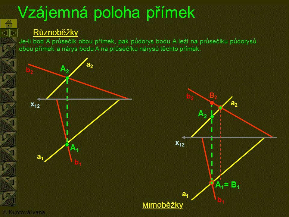 Vzájemná poloha přímek x 12 A1A1 a1a1 b1b1 A2A2 a2a2 b2b2 Různoběžky Je-li bod A průsečík obou přímek, pak půdorys bodu A leží na průsečíku půdorysů o