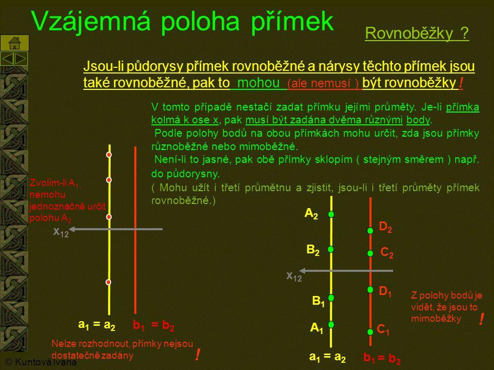 Vzájemná poloha přímek Jsou-li půdorysy přímek rovnoběžné a nárysy těchto přímek jsou také rovnoběžné, pak to mohou (ale nemusí ) být rovnoběžky ! = b