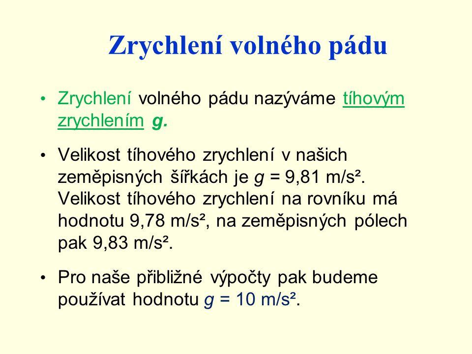 Zrychlení volného pádu Zrychlení volného pádu nazýváme tíhovým zrychlením g. Velikost tíhového zrychlení v našich zeměpisných šířkách je g = 9,81 m/s²