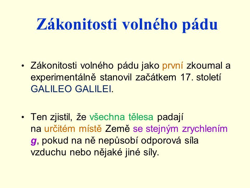 Zákonitosti volného pádu Zákonitosti volného pádu jako první zkoumal a experimentálně stanovil začátkem 17. století GALILEO GALILEI. Ten zjistil, že v