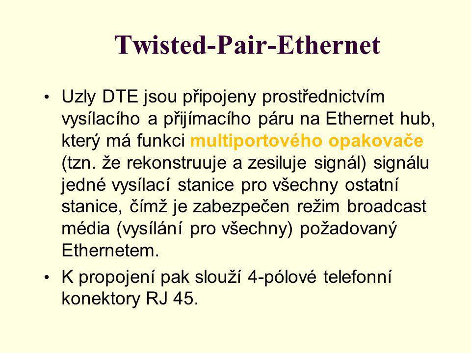 Twisted-Pair-Ethernet Uzly DTE jsou připojeny prostřednictvím vysílacího a přijímacího páru na Ethernet hub, který má funkci multiportového opakovače (tzn.