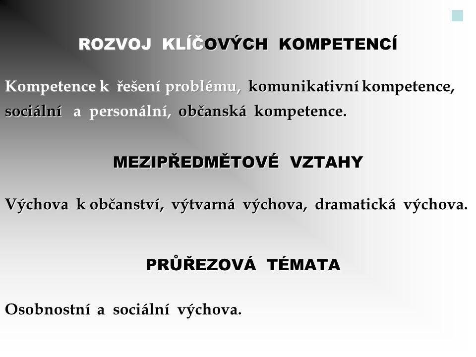 ROZVOJ KLÍČOVÝCH KOMPETENCÍ Kompetence k řešení problému, komunikativní kompetence, sociální a personální, občanská kompetence. MEZIPŘEDMĚTOVÉ VZTAHY