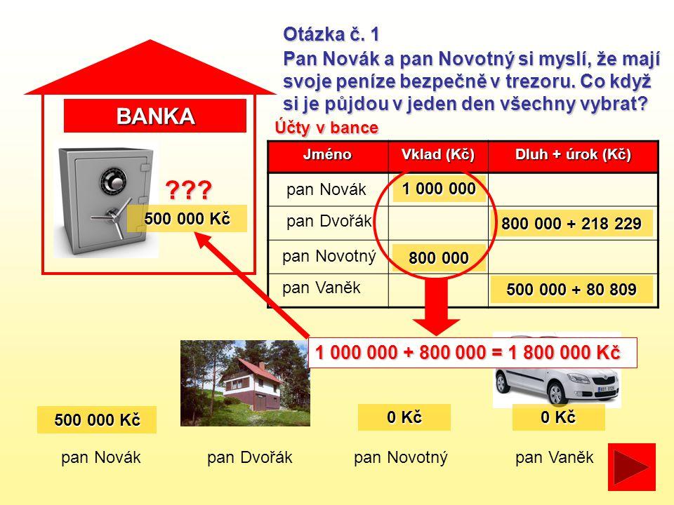 BANKA pan Novákpan Dvořákpan Novotný Otázka č. 1 Pan Novák a pan Novotný si myslí, že mají svoje peníze bezpečně v trezoru. Co když si je půjdou v jed