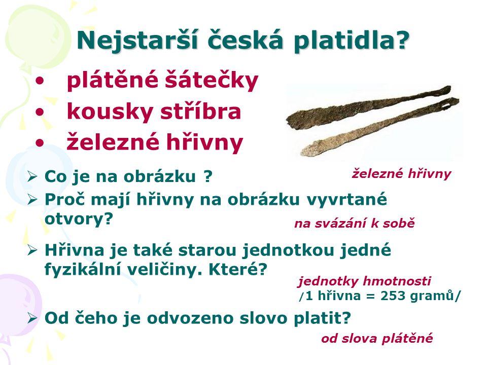 Nejstarší česká platidla. Co je na obrázku .
