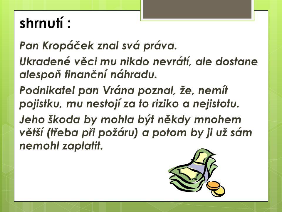 shrnutí : Pan Kropáček znal svá práva.