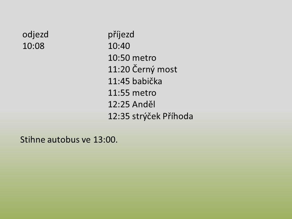 odjezdpříjezd 10:0810:40 10:50 metro 11:20 Černý most 11:45 babička 11:55 metro 12:25 Anděl 12:35 strýček Příhoda Stihne autobus ve 13:00.