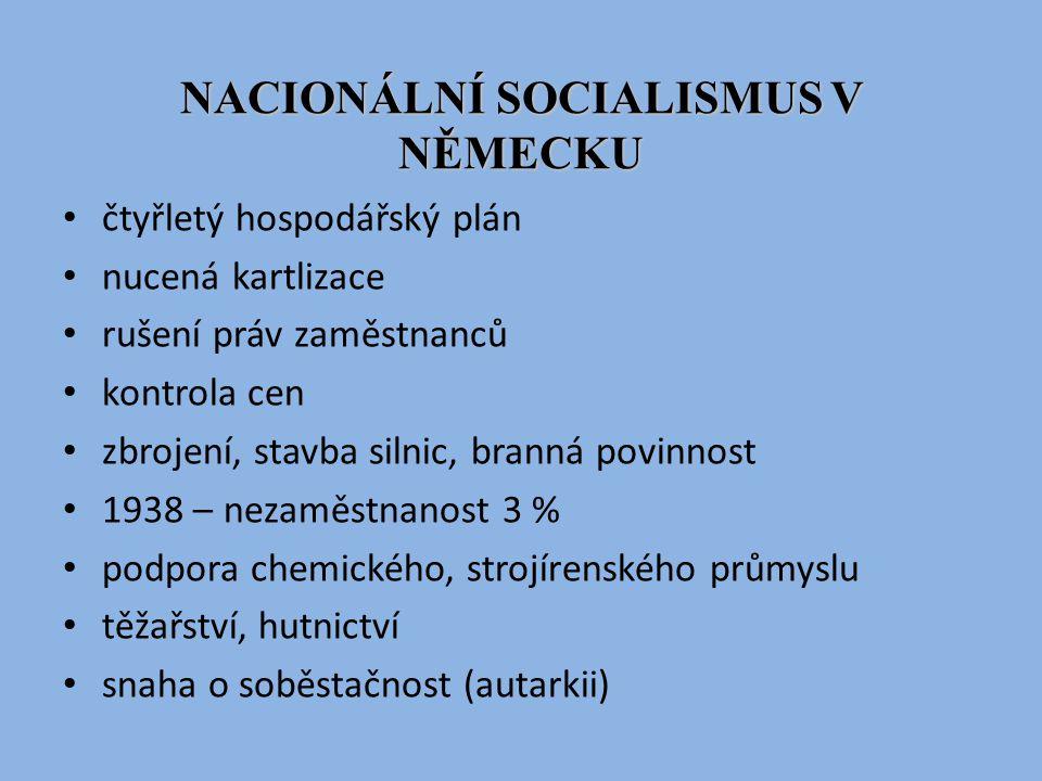 NACIONÁLNÍ SOCIALISMUS V NĚMECKU čtyřletý hospodářský plán nucená kartlizace rušení práv zaměstnanců kontrola cen zbrojení, stavba silnic, branná povi