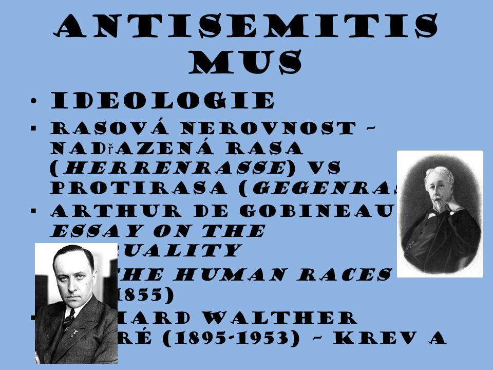 Antisemitis mus Ideologie  rasová nerovnost – nad ř azená rasa (herrenrasse) vs protirasa (gegenrasse)   Arthur de Gobineau (An Essay on the Inequa