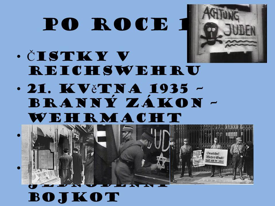 Po roce 1933 Č istky v reichswehru 21. kv ě tna 1935 – branný zákon – Wehrmacht od jara 1933 – tzv. revoluce zdola 1.dubna 1933 jednodenní bojkot
