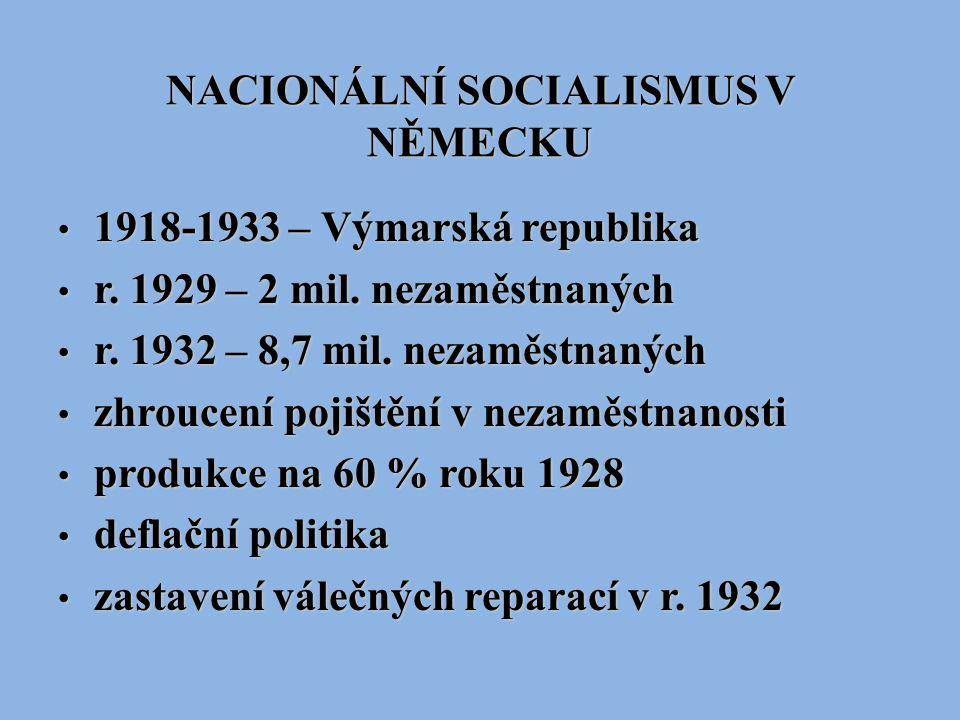 NACIONÁLNÍ SOCIALISMUS V NĚMECKU 1918-1933 – Výmarská republika 1918-1933 – Výmarská republika r. 1929 – 2 mil. nezaměstnaných r. 1929 – 2 mil. nezamě