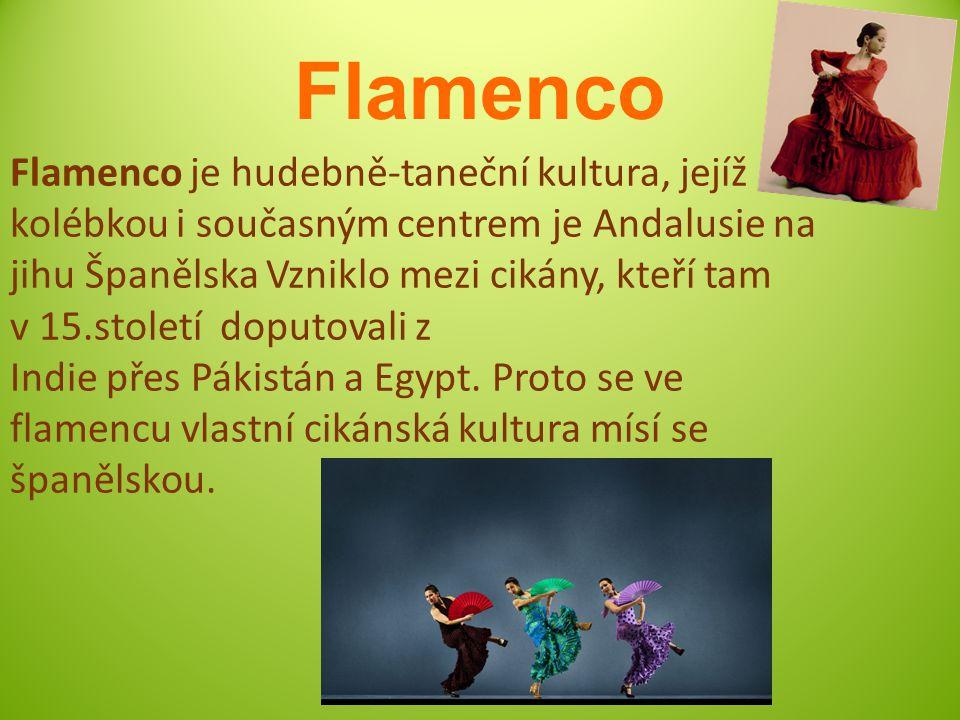 Flamenco Flamenco je hudebně-taneční kultura, jejíž kolébkou i současným centrem je Andalusie na jihu Španělska Vzniklo mezi cikány, kteří tam v 15.století doputovali z Indie přes Pákistán a Egypt.