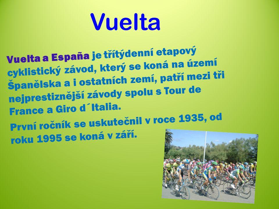 Vuelta Vuelta a España je třítýdenní etapový cyklistický závod, který se koná na území Španělska a i ostatních zemí, patří mezi tři nejprestiznější závody spolu s Tour de France a Giro d´Italia.