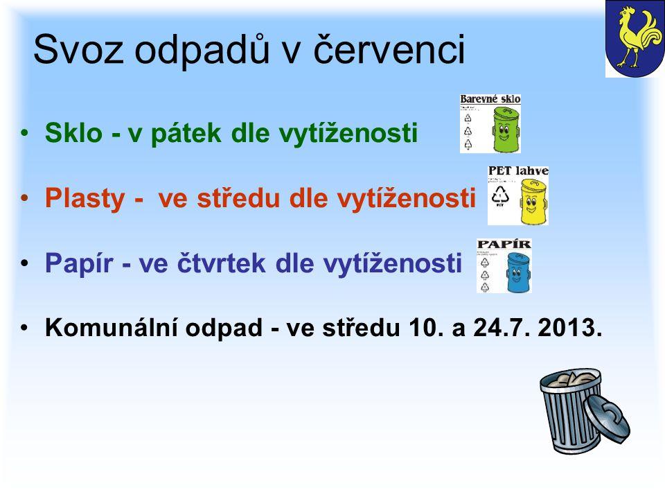 Svoz odpadů v červenci Sklo - v pátek dle vytíženosti Plasty - ve středu dle vytíženosti Papír - ve čtvrtek dle vytíženosti Komunální odpad - ve středu 10.