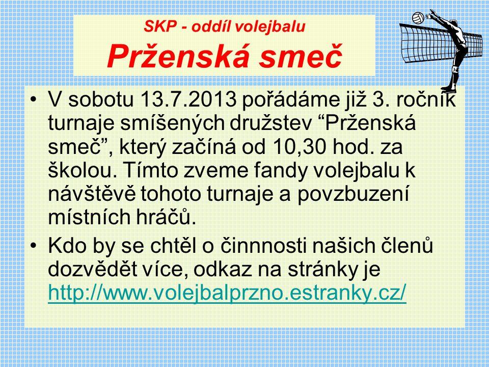 SKP - oddíl volejbalu Prženská smeč V sobotu 13.7.2013 pořádáme již 3.