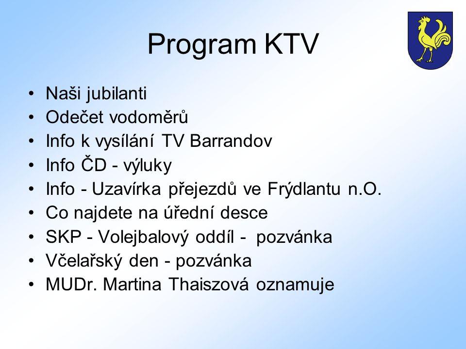 Program KTV Naši jubilanti Odečet vodoměrů Info k vysílání TV Barrandov Info ČD - výluky Info - Uzavírka přejezdů ve Frýdlantu n.O.