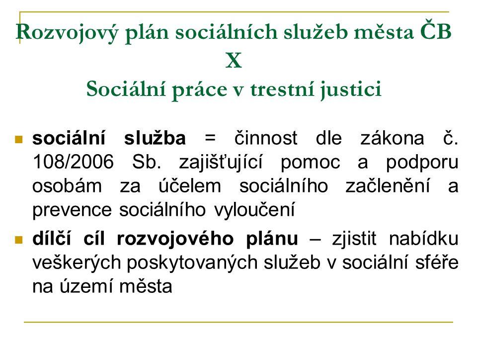 Rozvojový plán sociálních služeb města ČB X Sociální práce v trestní justici sociální služba = činnost dle zákona č. 108/2006 Sb. zajišťující pomoc a