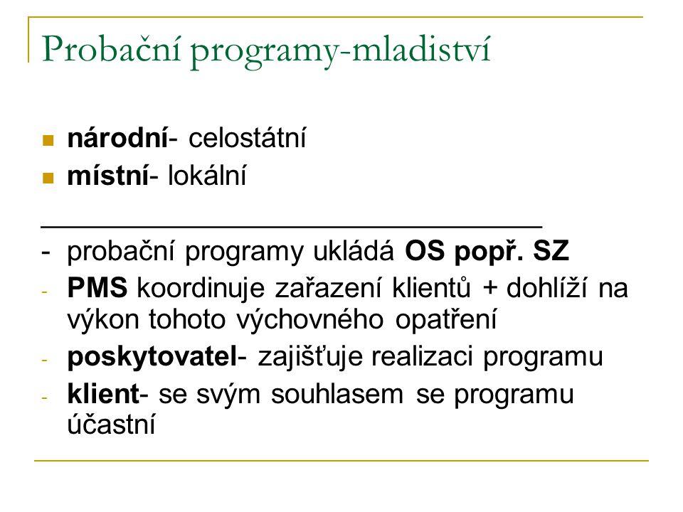 Probační programy-mladiství národní- celostátní místní- lokální ________________________________ - probační programy ukládá OS popř. SZ - PMS koordinu