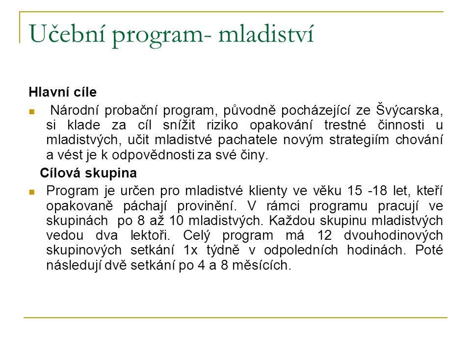 Učební program- mladiství Hlavní cíle Národní probační program, původně pocházející ze Švýcarska, si klade za cíl snížit riziko opakování trestné činn