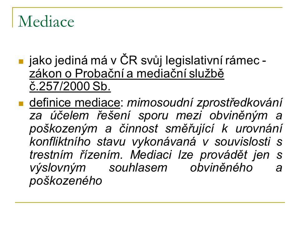 Mediace jako jediná má v ČR svůj legislativní rámec - zákon o Probační a mediační službě č.257/2000 Sb. definice mediace: mimosoudní zprostředkování z