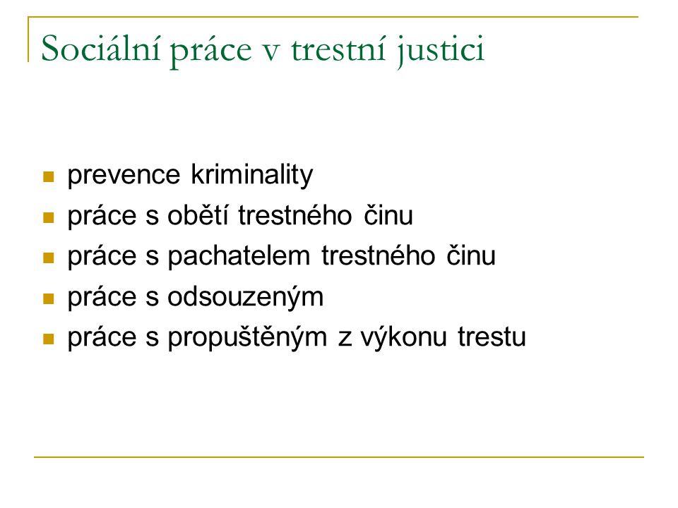Sociální práce v trestní justici prevence kriminality práce s obětí trestného činu práce s pachatelem trestného činu práce s odsouzeným práce s propuš
