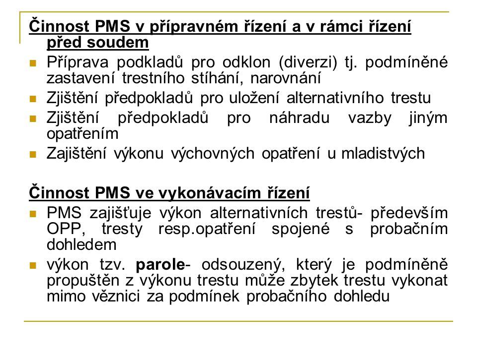 Činnost PMS v přípravném řízení a v rámci řízení před soudem Příprava podkladů pro odklon (diverzi) tj. podmíněné zastavení trestního stíhání, narovná
