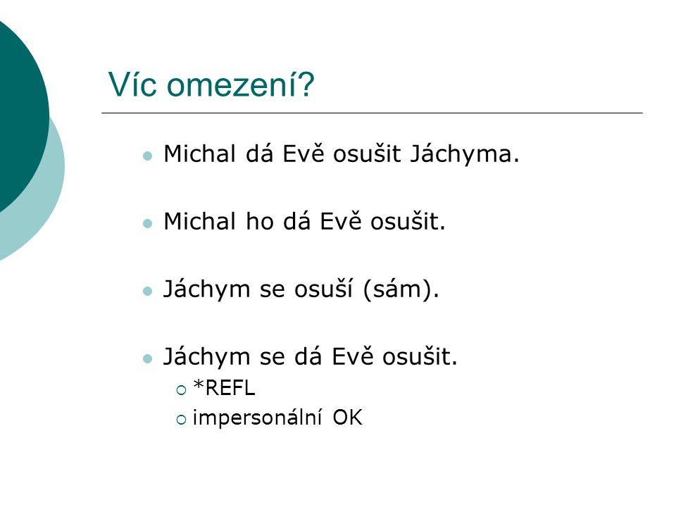 Víc omezení.Michal dá Evě osušit Jáchyma. Michal ho dá Evě osušit.