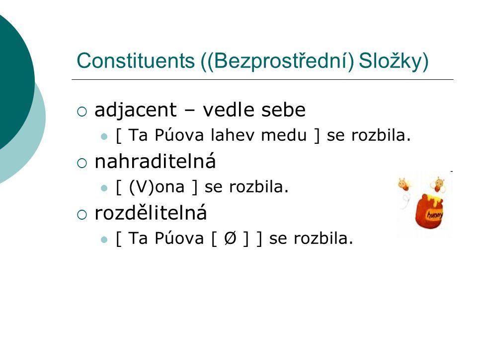 Constituents ((Bezprostřední) Složky)  adjacent – vedle sebe [ Ta Púova lahev medu ] se rozbila.