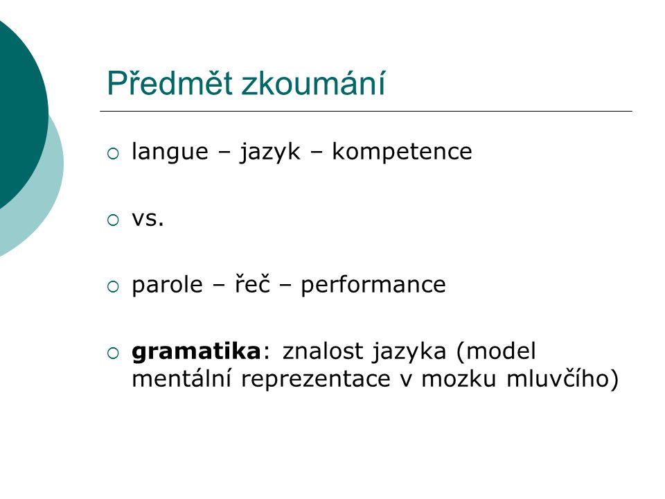 Předmět zkoumání  langue – jazyk – kompetence  vs.