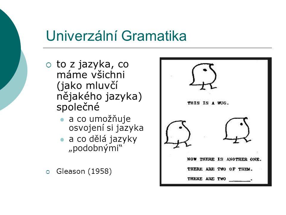 """Univerzální Gramatika  to z jazyka, co máme všichni (jako mluvčí nějakého jazyka) společné a co umožňuje osvojení si jazyka a co dělá jazyky """"podobnými  Gleason (1958)"""