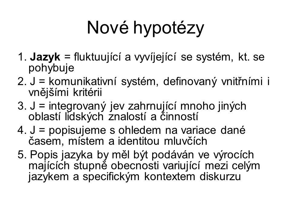 Nové hypotézy 1. Jazyk = fluktuující a vyvíjející se systém, kt. se pohybuje 2. J = komunikativní systém, definovaný vnitřními i vnějšími kritérii 3.