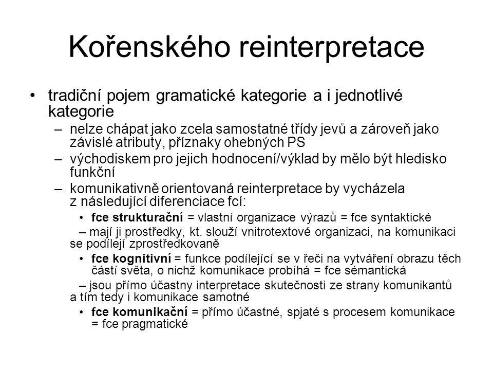 Kořenského reinterpretace tradiční pojem gramatické kategorie a i jednotlivé kategorie –nelze chápat jako zcela samostatné třídy jevů a zároveň jako z
