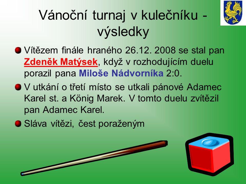 Štěpánský turnaj ve stolním tenise - výsledky Ve finálovém duelu se utkali otec a syn Jedličkovi z Janovic.