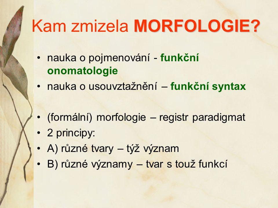 MORFOLOGIE? Kam zmizela MORFOLOGIE? nauka o pojmenování - funkční onomatologie nauka o usouvztažnění – funkční syntax (formální) morfologie – registr