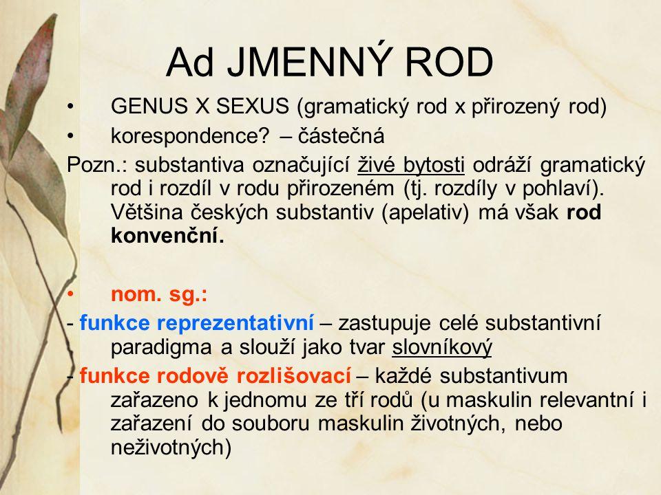 Ad JMENNÝ ROD GENUS X SEXUS (gramatický rod x přirozený rod) korespondence? – částečná Pozn.: substantiva označující živé bytosti odráží gramatický ro