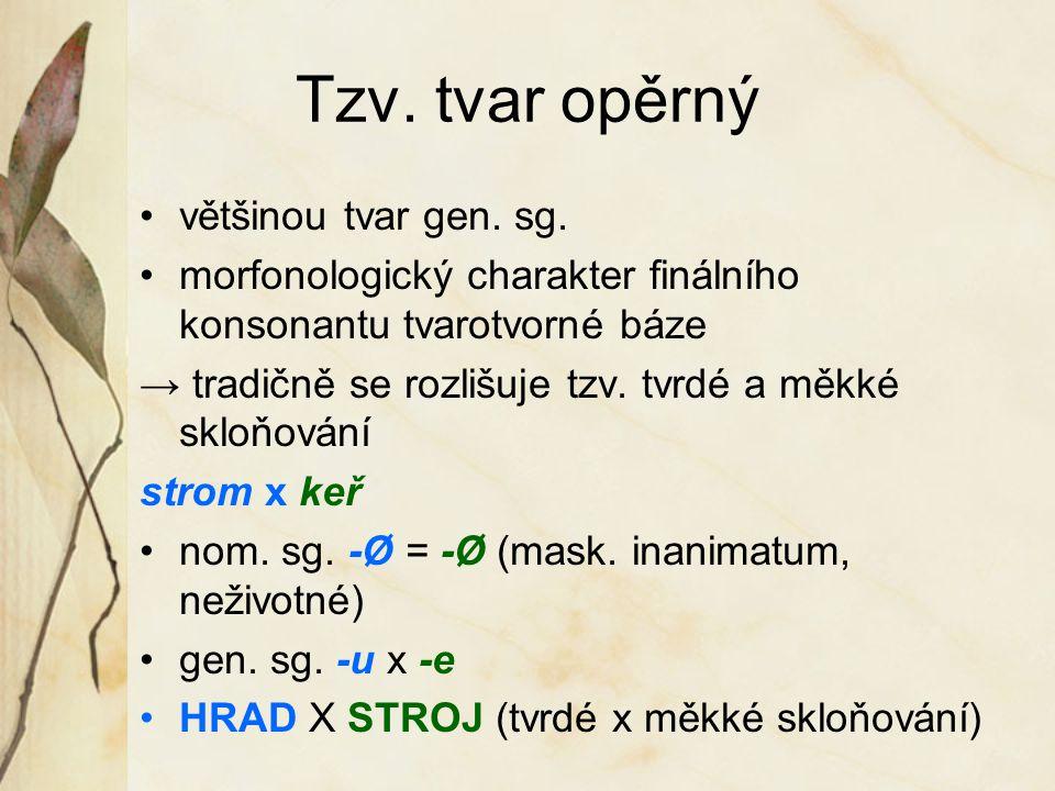 Tzv. tvar opěrný většinou tvar gen. sg. morfonologický charakter finálního konsonantu tvarotvorné báze → tradičně se rozlišuje tzv. tvrdé a měkké sklo