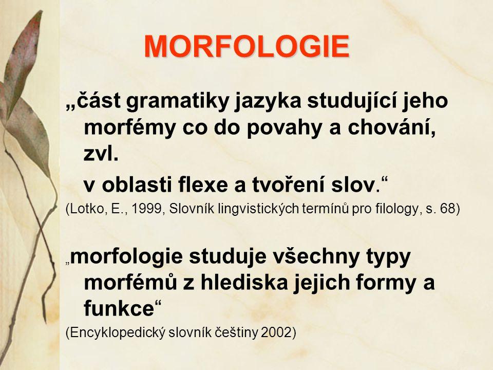 """MORFOLOGIE """"část gramatiky jazyka studující jeho morfémy co do povahy a chování, zvl. v oblasti flexe a tvoření slov."""" (Lotko, E., 1999, Slovník lingv"""