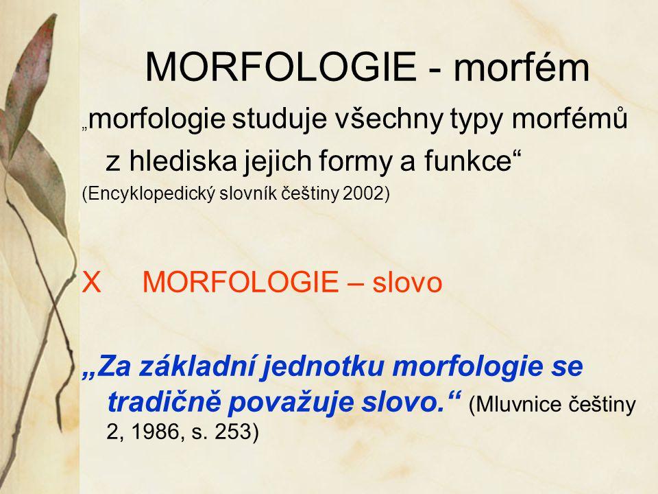 """MORFOLOGIE - morfém """" morfologie studuje všechny typy morfémů z hlediska jejich formy a funkce"""" (Encyklopedický slovník češtiny 2002) X MORFOLOGIE – s"""