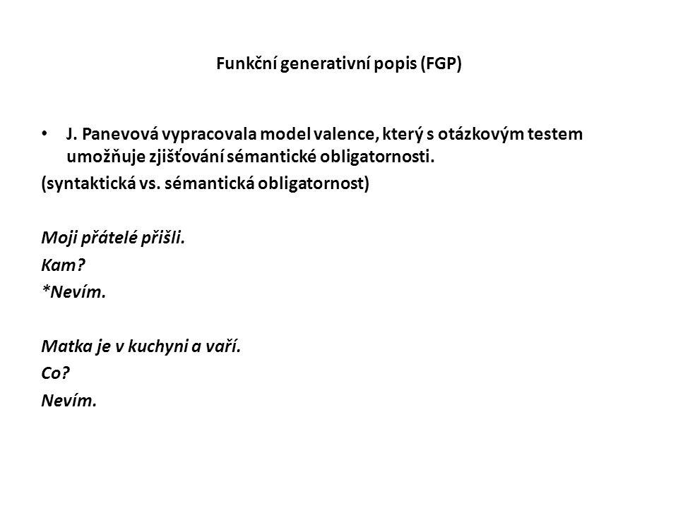 Funkční generativní popis (FGP) J. Panevová vypracovala model valence, který s otázkovým testem umožňuje zjišťování sémantické obligatornosti. (syntak