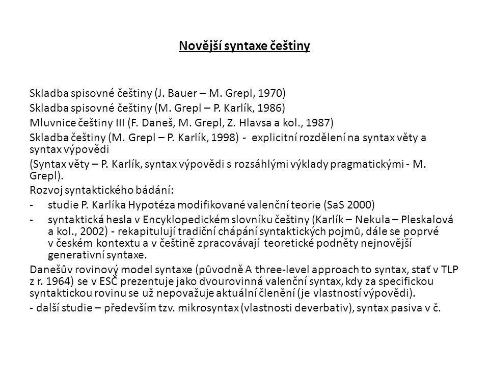 Novější syntaxe češtiny Skladba spisovné češtiny (J. Bauer – M. Grepl, 1970) Skladba spisovné češtiny (M. Grepl – P. Karlík, 1986) Mluvnice češtiny II