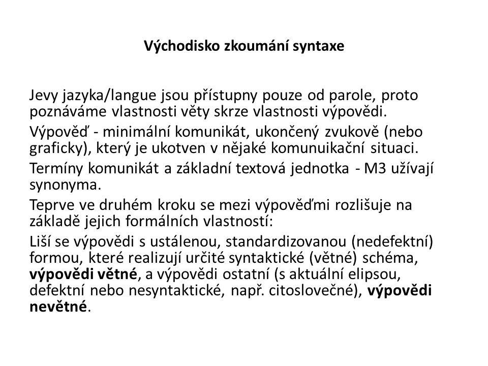 Východisko zkoumání syntaxe Jevy jazyka/langue jsou přístupny pouze od parole, proto poznáváme vlastnosti věty skrze vlastnosti výpovědi. Výpověď - mi