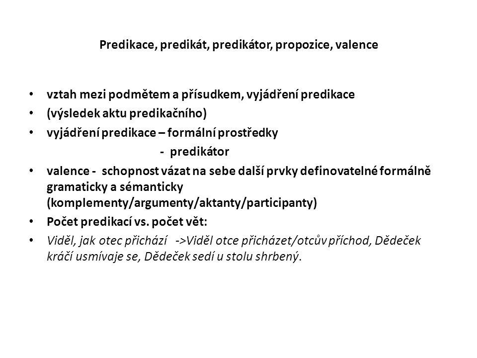 Predikace, predikát, predikátor, propozice, valence vztah mezi podmětem a přísudkem, vyjádření predikace (výsledek aktu predikačního) vyjádření predikace – formální prostředky - predikátor valence - schopnost vázat na sebe další prvky definovatelné formálně gramaticky a sémanticky (komplementy/argumenty/aktanty/participanty) Počet predikací vs.